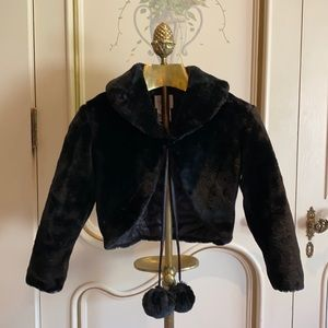 Girls Black Pom Pom Formal Jacket/Coat Sz 6-8